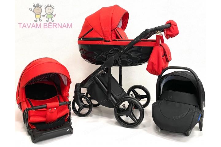 Adamex Chantal C206 3-1 (sarkana), bērnu rati Adamex 3 in 1