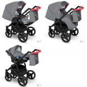 Camarelo Neso 3-1 Ne-1 (tumši pelēka / sarkana) rati jaundzimušajiem