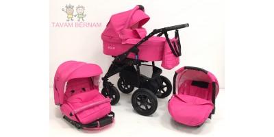 BELLOBABIES POLO bērnu universālie ratiņi 3-1 (pink)