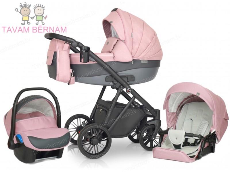 Verdi Melbu 3 in 1 10 (roza) bērnu universālie rati Verdi
