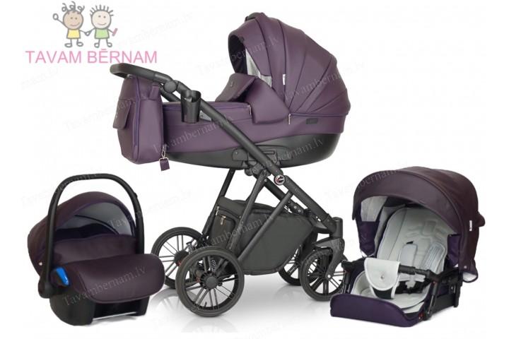 Verdi Melbu 3 in 1 04 (violet) eko-āda bērnu universālie rati Verdi
