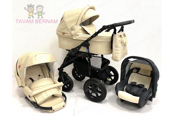 BELLOBABIES POLO bērnu universālie ratiņi 3-1 (Eco-āda bēša) - melna rama
