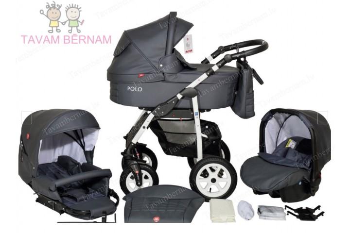 BELLOBABIES POLO bērnu universālie ratiņi 3-1 (Eco-āda pelēka) - balta rama