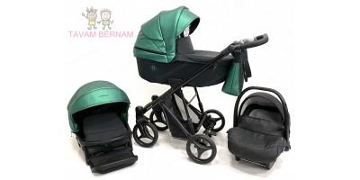 Bebetto Nitello Shine 01 (zaļa) bērnu rati trīs vienā