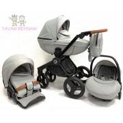 Verdi Futuro Premium 3-1 Stone Grey (pelēka Eco-āda), bērnu rati trīs vienā