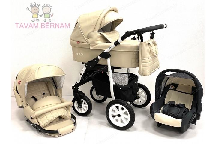 BELLOBABIES POLO bērnu universālie ratiņi 3-1 (Eco-āda bēša) - balta rama