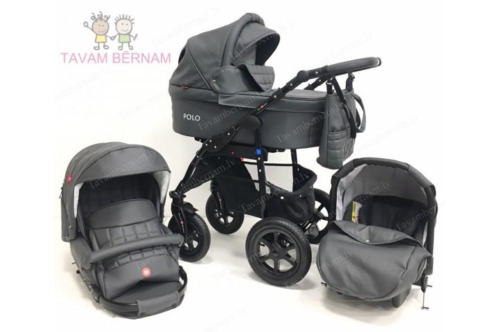 BELLOBABIES POLO bērnu universālie ratiņi 3-1 (Eco-āda pelēka) - melna rama