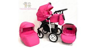 BELLOBABIES POLO bērnu universālie ratiņi 3-1 (pink) balta rama