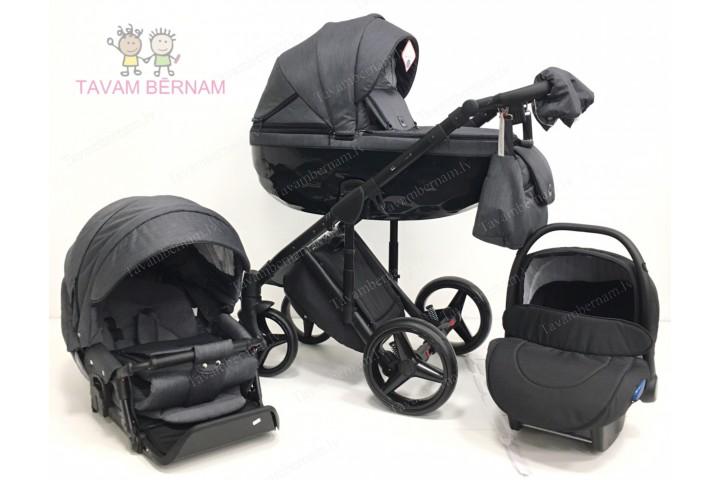 Adamex Chantal C201 3-1 (tumši pelēka), bērnu rati Adamex 3 in 1