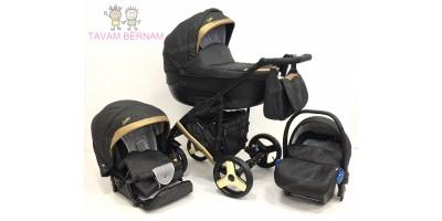 Camarelo Baleo 3-1 BaS-10 (tumši pelēka / zelta) bērnu kulbu rati