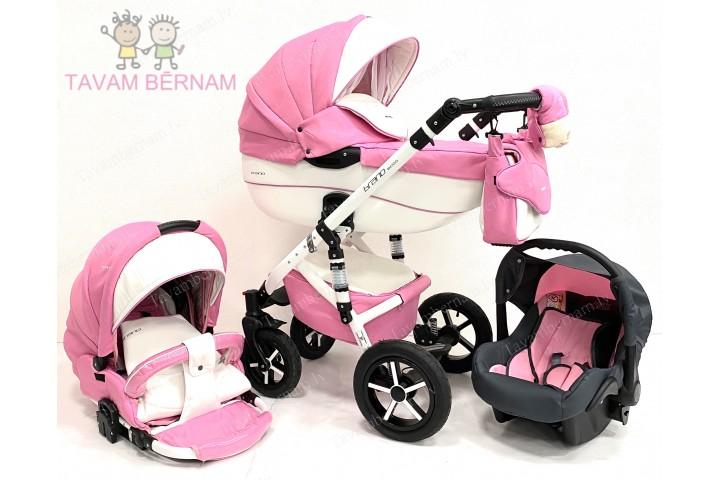 Riko Brano Ecco bērnu universālie ratiņi 3-1 col.18 Baby pink (roza)