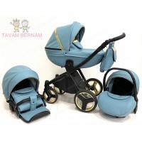 Verdi Mirage Soft 3-1 col.02 (Eco zila - zelta), bērnu universālie ratiņi 3-1