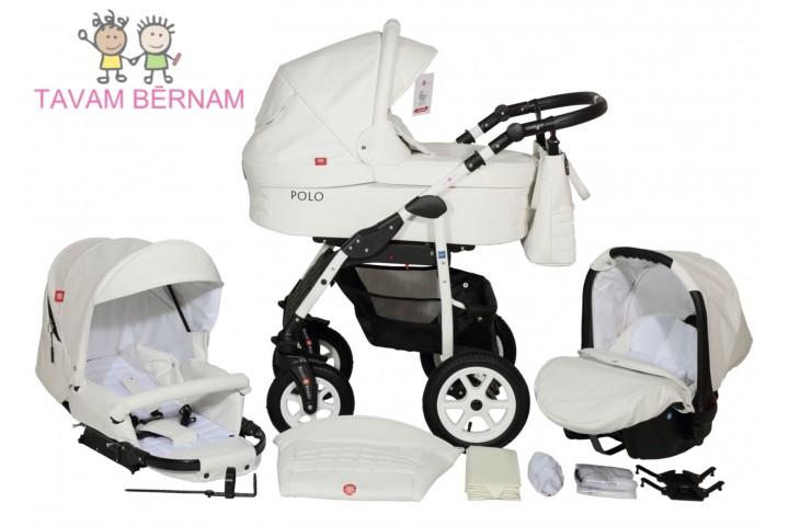 BELLOBABIES POLO bērnu universālie ratiņi 3-1 (Eco-āda balta) - balta rāma
