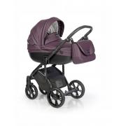 Roan Bass Soft bērnu universālie ratiņi 2in1 Eco-leather collection col.Lavender Night