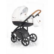Roan Bass Soft bērnu universālie ratiņi 2in1 Eco-leather collection col.Caramel White