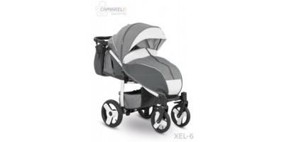 Camarelo Elf bērnu pastaigu rati col.XEL-6 white (denim dark grey/white frame)