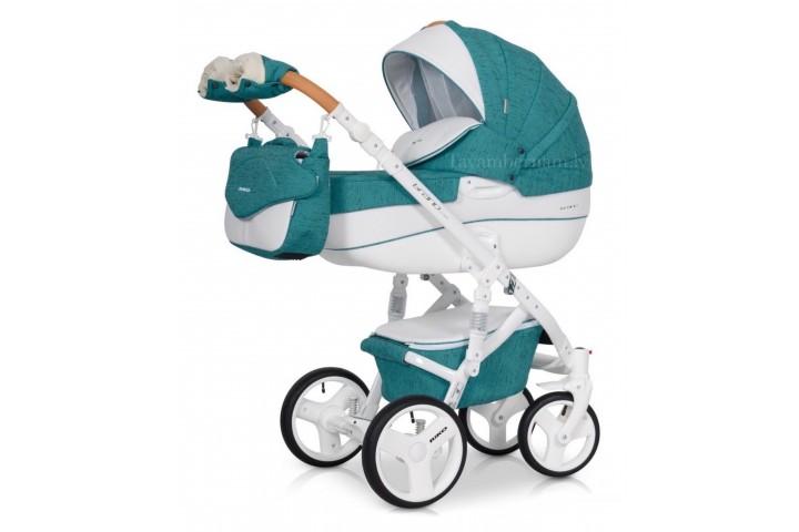 Riko Brano Luxe bērnu universālie ratiņi 3-1 col.03 Malachit (zila)