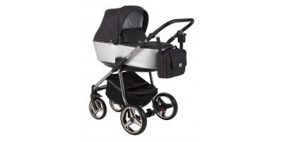 Adamex Reggio Special edition bērnu universālie ratiņi 3in1 col.Y-818 silver (melna silver)