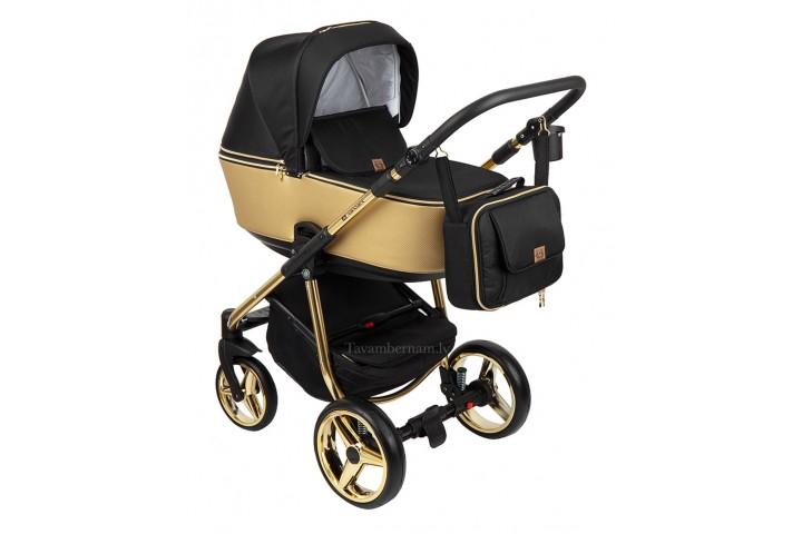 Adamex Reggio Special edition bērnu universālie ratiņi 3in1 col.Y-828 gold (melna gold)